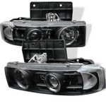 2000 Chevy Astro Black Dual Halo Projector Headlights