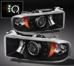 1999 Dodge Ram Sport Black Halo Projector Headlights with LED