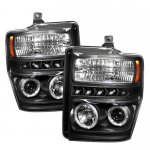 2010 Ford F450 Super Duty Black CCFL Halo Projector Headlights