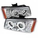 2005 Chevy Avalanche Chrome Projector Headlights Halo LED