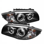BMW 128i 2008-2013 E82 E88 Black Dual Halo Projector Headlights