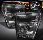 2011 Ford F450 Super Duty Smoked Halo Projector Headlights with LED DRL