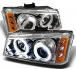 2003 Chevy Silverado Clear CCFL Halo Projector Headlights with LED