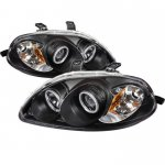 Honda Civic 1996-1998 Black Dual CCFL Halo Projector Headlights