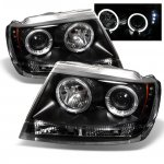 Jeep Grand Cherokee 1999-2004 Black Dual Halo Projector Headlights with LED