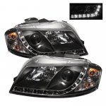 2007 Audi A3 Black Projector Headlights with LED Daytime Running Lights