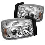 2007 Dodge Dakota Clear Dual Halo Projector Headlights with Integrated LED