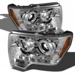 Ford F150 2009-2014 Clear CCFL Halo Projector Headlights with LED