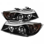 BMW 3 Series E90 Sedan 2006-2008 Black Dual CCFL Halo Projector Headlights