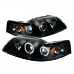 Ford Mustang 1999-2004 Black Dual CCFL Halo Projector Headlights