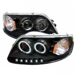 2002 Ford F150 Black CCFL Halo Projector Headlights with LED