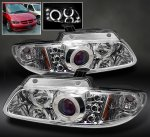 Chrysler Voyager 2000-2000 Clear Dual Halo Projector Headlights with Integrated LED