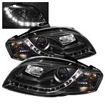2007 Audi A4 Black Projector Headlights with LED Daytime Running Lights