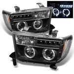 Toyota Sequoia 2008-2015 Black Dual Halo Projector Headlights with LED