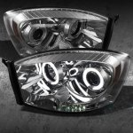 Dodge Ram 3500 2006-2009 Smoked CCFL Halo Projector Headlights with LED