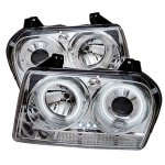 Chrysler 300 2005-2008 Clear CCFL Halo Projector Headlights with LED