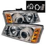 2003 Chevy Silverado Clear Dual Halo Projector Headlights with LED