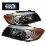2007 BMW 3 Series Sedan Black CCFL Halo Projector Headlights