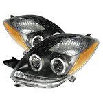 2006 Toyota Yaris Coupe Black Dual Halo Projector Headlights with Integrated LED