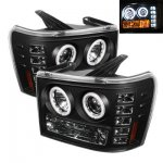2009 GMC Sierra Black CCFL Halo Projector Headlights with LED