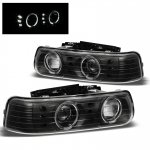2000 Chevy Silverado Black Halo Projector Headlights LED DRL