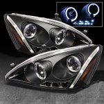 2007 Honda Accord Black Halo Projector Headlights with LED Daytime Running Lights