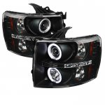 2007 Chevy Silverado Black CCFL Halo Projector Headlights with LED
