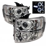 Chevy Silverado 2007-2013 Clear Dual Halo Projector Headlights with LED