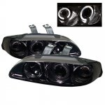 Honda Civic Sedan 1992-1995 Smoked Halo Projector Headlights