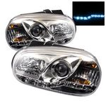 VW Golf 1999-2005 Clear Projector Headlights with LED Daytime Running Lights