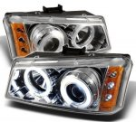 2003 Chevy Silverado 2500 Clear CCFL Halo Projector Headlights with LED