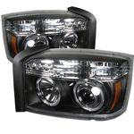 2007 Dodge Dakota Black Dual Halo Projector Headlights with Integrated LED