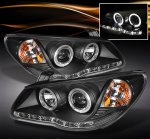 Hyundai Elantra 2007-2010 Black Halo Projector Headlights with LED DRL