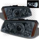 2005 Chevy Avalanche Smoked Projector Headlights Halo LED