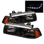 BMW E36 Coupe 1992-1998 Black Projector Headlights with LED Daytime Running Lights