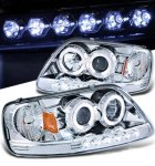1999 Ford F150 Clear Halo Projector Headlights with LED