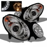 Mercedes Benz E Class 2003-2006 Clear HID Projector Headlights with LED DRL
