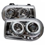 Chrysler 300C 2005-2010 Clear CCFL Halo Projector Headlights with LED