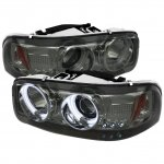 2003 GMC Sierra Smoked CCFL Halo Projector Headlights with LED
