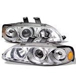 1993 Honda Civic Sedan Clear Dual Halo Projector Headlights with Corner Lights