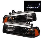 1996 BMW E36 Sedan Black Projector Headlights with LED Daytime Running Lights