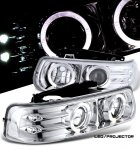 2000 Chevy Silverado Clear Halo Projector Headlights with LED