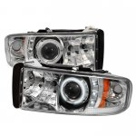 1996 Dodge Ram Clear CCFL Halo Projector Headlights with LED