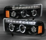 2001 Dodge Ram 2500 Black Halo Projector Headlights with LED DRL