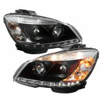 Mercedes Benz C Class 2008-2011 Black Projector Headlights with LED