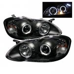 2007 Toyota Corolla Black Dual Halo Projector Headlights with LED