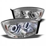 2008 Dodge Ram Clear CCFL Halo Projector Headlights with LED