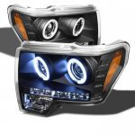 2010 Ford F150 Black CCFL Halo Projector Headlights with LED