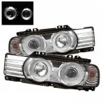 1989 BMW 7 Series Clear Dual Halo Projector Headlights