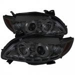2009 Toyota Corolla Smoked Halo Projector Headlights with LED Daytime Running Lights